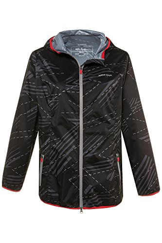 Ulla Popken Women's Plus Size Abstract Print Rain Jacket 714600 Black Multi