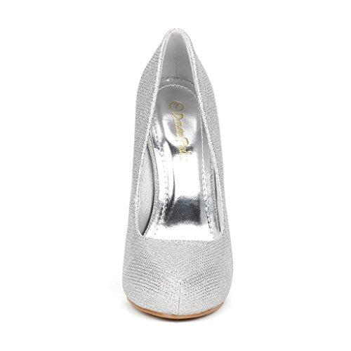 Coppia Di Sogni Gloria Donna Nuovo Classico Elegante Versatile Stiletto Abito Piattaforma Pompe Tacchi Scarpe Glitter Gloria-plain-silver