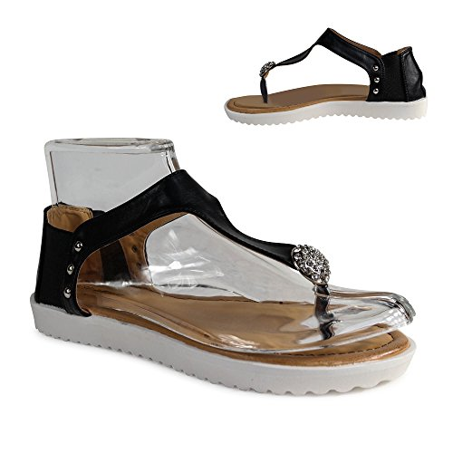Damen Sandalen Zehentrenner Glitzer Sandaletten Nieten ST218