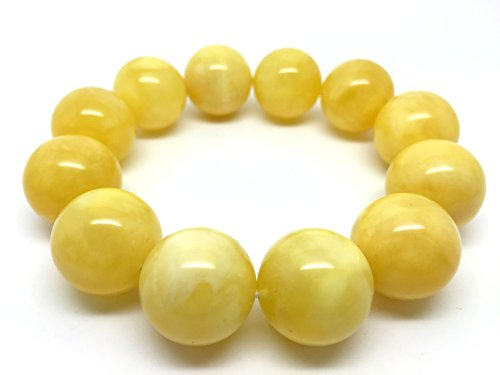 Baltic Amber Bracelet Yellow Round Ball Beads, 19-20 Millimetres Diameter, 12 Round Balls, 54g Weight.