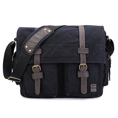 sulandy @ nuevo estilo Vintage lienzo grande Unisex Messenger bolso bandolera de piel Trim escuela Militar bolsa de hombro bolso bandolera, army green 44, large black(large)