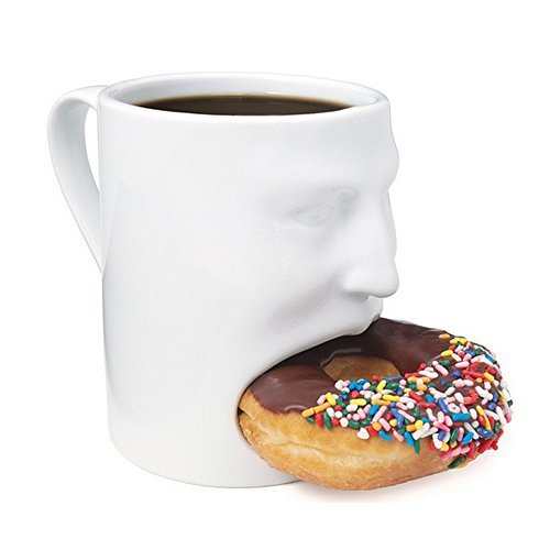 LB White Creative Face Cookie Mug Cup with Biscuit for sale  Delivered anywhere in USA