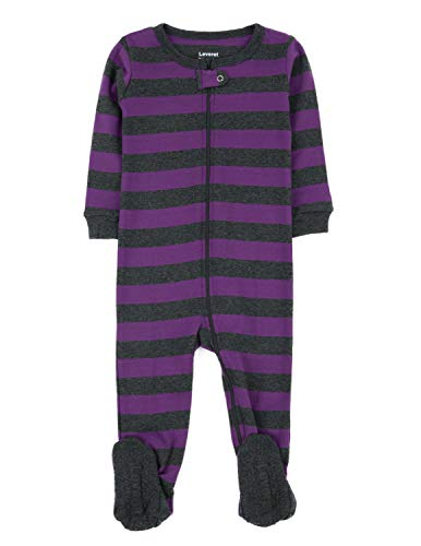 - Leveret Striped Footed Pajama Sleeper 100% Cotton (3-6 Months, Purple & Grey)
