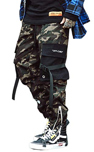 MOKEWEN Men's Camouflage Ribbon Zipper Ankle Band Casual Cargo Pants with Pocket Army Green W31-32