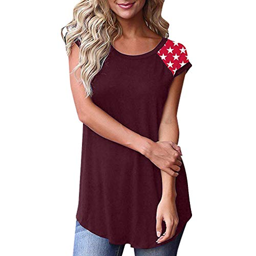 Whear Women's Short Sleeve Blouse Color Block Casual Basic Round Neck T Shirt with Patchwork Pocket Tunic Tops (Wine Red 2, XL)