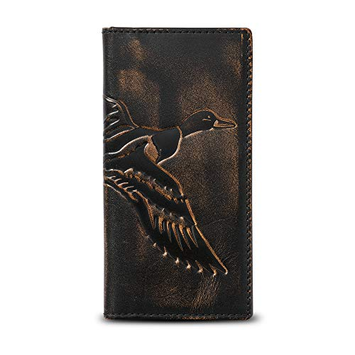 HOJ Co. DUCK Long Bifold Wallet-Full Grain Leather With Hand Burnished Finish-Mens TALL Wallet-Duck Hunter Gift-Rodeo Wallet (Men Wallets Hunting)