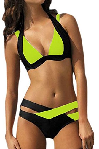 COOCOl Large Size 3XL Bikini Plus Size Vintage Swim Suit Green XL (Sims 2 Jeans)