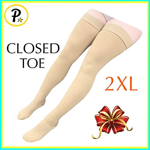 Presadee Thigh High Leg Full Length 20-30 mmHg Graduated Compression Grade Stocking Swelling Fatigue Edema Varicose Veins Support Socks Closed Toe (Beige, 2XL)
