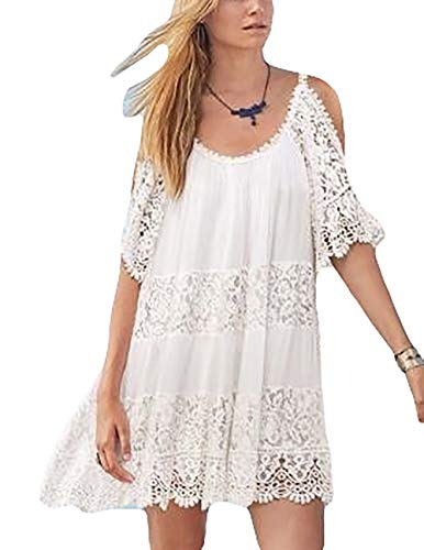 Bsubseach Women Lace Cold Shoulder Short Sleeve V Neck Beach Tunic Dress Loose Swimwear Swimsuit Cover Up Cold Shoulder Swim Cover