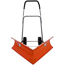 Ivation Dual Angle Snow Pusher – Manual Push Plow for Walkways, Sidewalks, Stoops, Decks, Patios & More