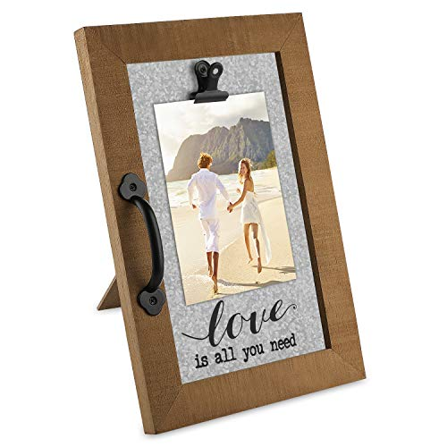 OUCHAN 4x6 Wood Wooden Love Picture Frame with Clip,Baby Picture Frame,Reclaimed Wood Rustic Picture Frames,Galvanized Natural Photo Frames for Tabletop with Metal ()