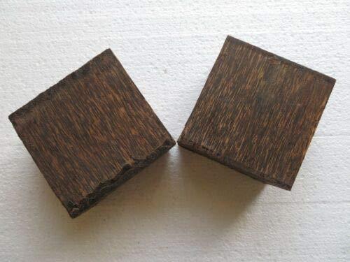 2 Pcs of BLACK PALM TURNING WOOD BOWL BLANK LATHE 4'' x 4'' x 2''