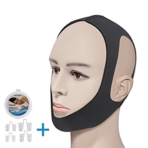 Anti Snoring Chin Strap - Cpap Chin Strap, Stop Snoring Device Anti Snore Solution for Men, Women. Nasal Dilator for Snoring Reduction Device - Adjustable Chin Strap with Nose Vents by Searick -