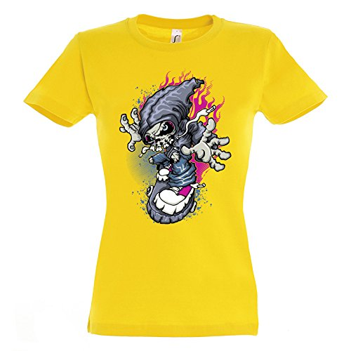 Awesome Skeleton Riding On Rock Design Awesome Women Damen Yellow T-shirt