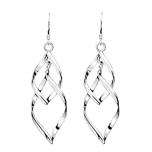 JAGENIE Twist Wave Design Drop Dangle Earrings Sparkling Ear Stud Double Linear Loops