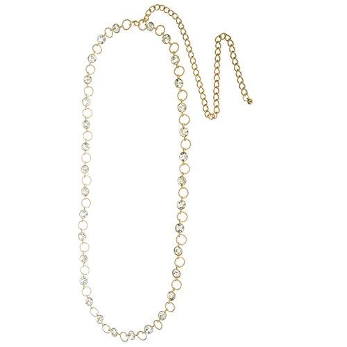 Goldtone Adjustable Length Single Row Belt Chain with Alternating Stones