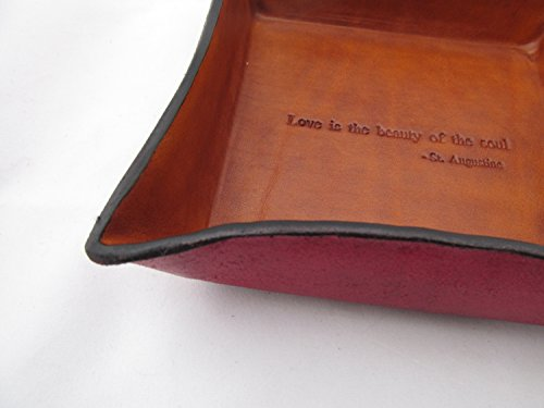 Leather Anniversary Gift. St. Augustine Quote Inscribed Leather Desk Tray.