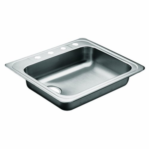 Moen 22130 Commercial Sink 20 ga 4 hole left rear drain, Stainless by Moen [並行輸入品] B018A16K7C