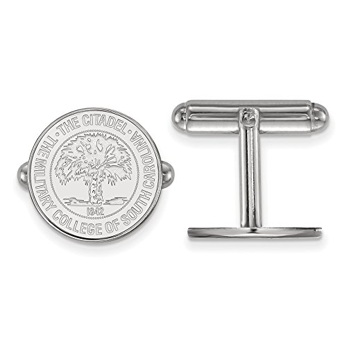 Jewel Tie 925 Sterling Silver The Citadel Crest Cuff Link (15mm x 15mm) ()