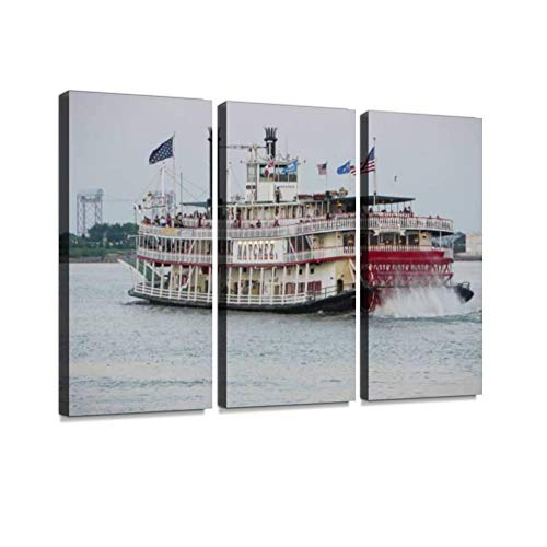Natchez Steamboat at The Mississippi River Print On Canvas Wall Artwork Modern Photography Home Decor Unique Pattern Stretched and Framed 3 Piece