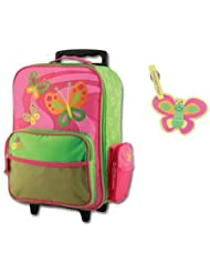 Stephen Joseph Rolling Luggage and Name Tag Set