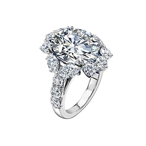 - Erllo Rhodium Plated Sterling Silver 4Ct Oval Cubic Zirconia CZ Flower Cocktail Statement Ring (White, 6)