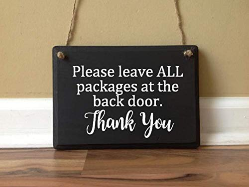 Please Leave All Packages at the Back Door custom wooden sign front Porch Sign Deliveries Delivery Instructions Front door sign ()