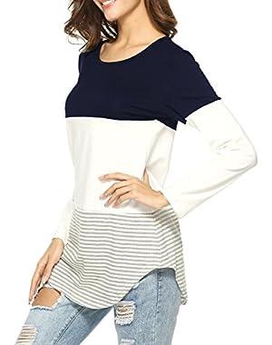 Womens Long Sleeve Shirts Color Splicing Spring Top Sweatshirt