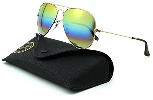 Ray-Ban RB3025 Aviator Large Metal Polarized Unisex Sunglasses (Metallic Light Bronze Frame/Light Grey Mirror Rainbow Lens 9020C4, - Sunglases Aviator
