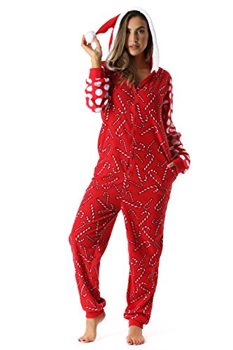 Womens Candy Cane Santa Pajamas
