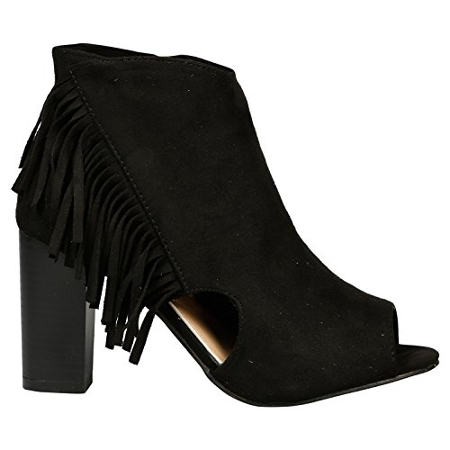 Feet First Fashion Mulan Womens High Block Heel Fringed Peep Toe Ankle Boots Black Faux Suede Y3S0JjRE