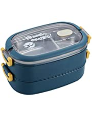 Cabilock Stainless Steel Lunch Box 2 Compartment Metal Lunch Case Blue Double Layer Bonus Dip Container Portion Control Lunch Containers for Adults and Kids Office School Food Holder