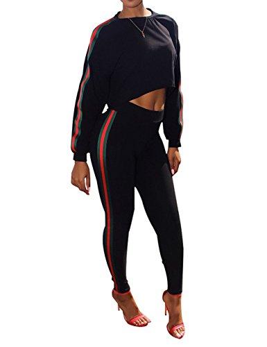 Holify Women's Casual Plain Stripe Crop Top Shorts Pants Long Sleeve Jumpsuit 2 Piece Set - Piece Two Womens