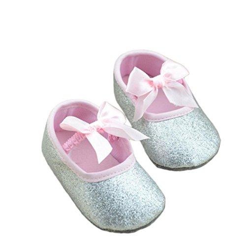 YJYdada Newborn Infant Baby Boys Girls Soft Sole Silk Elastic Band Shoes Mary Jane Crib Shoes (13, silver) Review