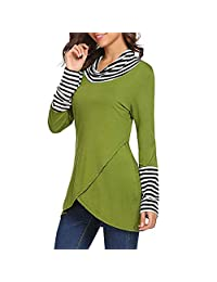 FarJing Womens Tunics Cowl Neck Striped Patchwork Layered A-Line Tops Shirts Blouse