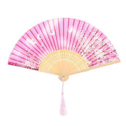 Agordo Hand Silk Fans Pocket Folding Bamboo Fan Wedding Party Favor Chinese Style Fan |Color - Butterfly Flower Rose - Butterfly Charm Lacy