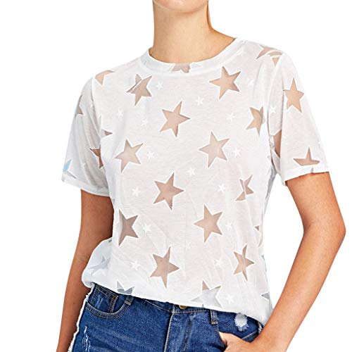 Smdoxi Summer Fashion Women's Casual Round Neck Solid Color Five-Pointed Star Print Shirt Short-Sleeved T-Shirt White
