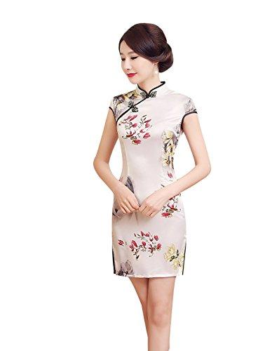 ACVIP Damen Cheongsam Qipao Kurzärmelige Dress Rot/Gelb Blumen Drucken Weiß