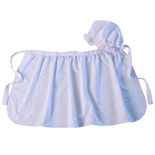Making Believe Womens Basic Mop Cap and Apron Set, White ()