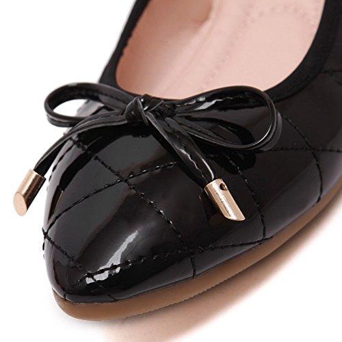 Scarpe Voguezone009 Donna Da Scollo Fiocco 39 Nero Barchetta Punta A Morbide Aperte E Con HqUqd