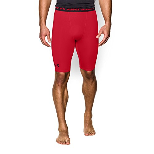 Under Armour Men's HeatGear Armour Compression Shorts – Long, Red (600)/Black, ()
