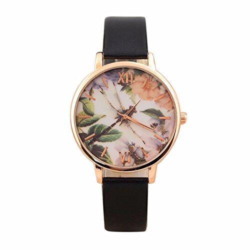 Hot Sales! Women Watches, SINMA Retro Roman Numerals Dragonfly Pattern Analog Quartz Leather Wrist Watch (Black)