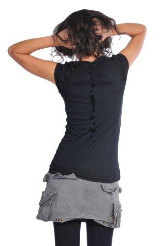 con manga redondo corta 3elfen Camisa Moda Element cuello Mujer de Camiseta Day De mujer Manga estampados corta para wEICYqC