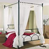 Tab Top Voile 4 Poster Bed Curtain Set. Includes 8 Voile Panels And 4 Tie Backs. Set in White.