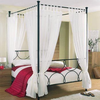 Tab Top Voile 4 Poster Bed Curtain Set. Includes 8 Voile Panels And 4 Tie