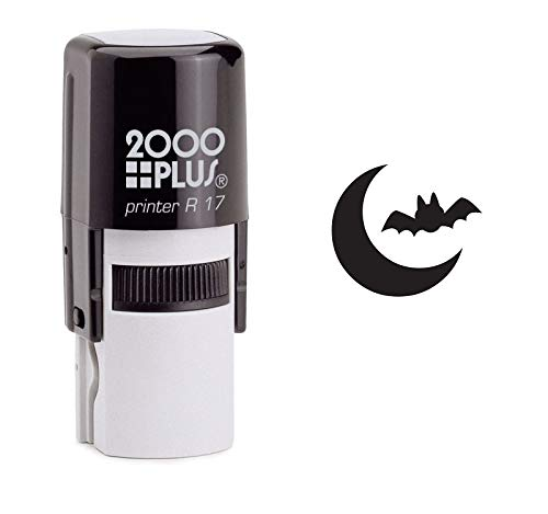 Bat in The Moonlight Self Inking Rubber Stamp - Black Ink (A-6527)