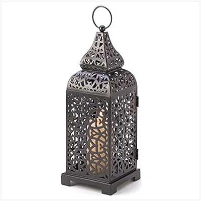 2 Moroccan Tower Candle Lanterns Intricate Black Metal Panels