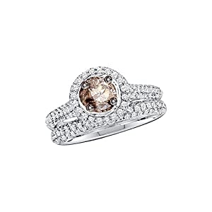 14kt White Gold Womens Round Cognac-brown Colored Diamond Bridal Wedding Engagement Ring Band Set 1-1/4 Cttw (I2-I3 clarity; Brown color)