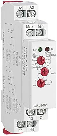 ACAMPTAR Controlador de Nivel de gua GRL8 Relé de LíQuido 10A CA CC 24 V 220 V Relé de Bomba de gua de Voltaje de mplio Rango, GRL8-02