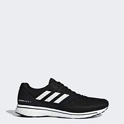 adidas Men's Adizero Adios 4 Running Shoe, White/Black, 10 M US
